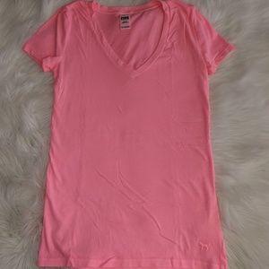 Victoria's Secret Pink - neon pink V Neck